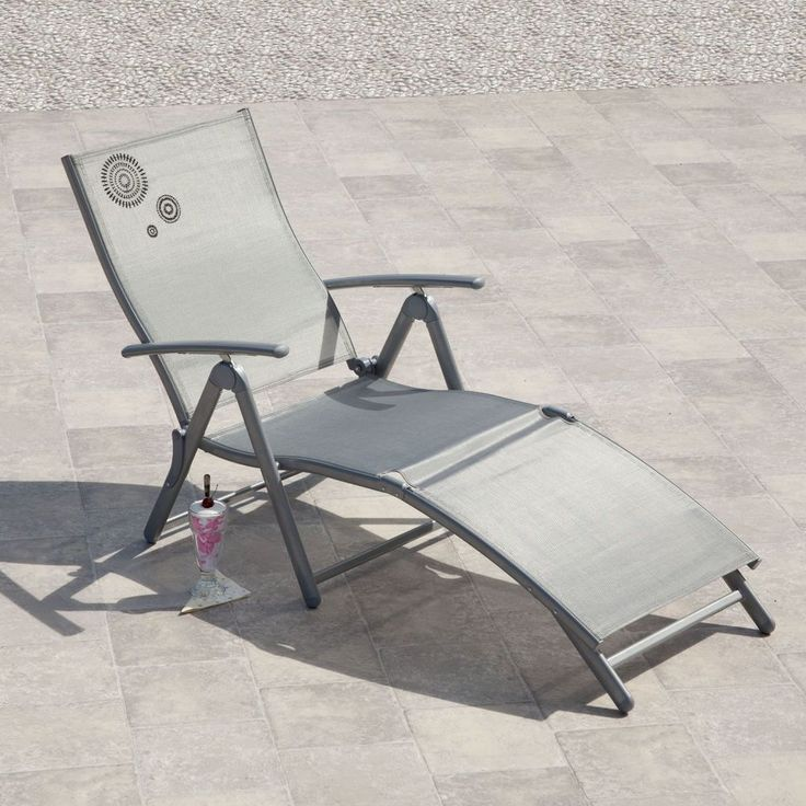 Reclining Sun Lounger Silver Metal Fabric Outdoor Garden Balcony Patio Furniture