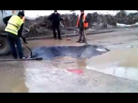 асфальт России(how to lay down asphalt in Russia)