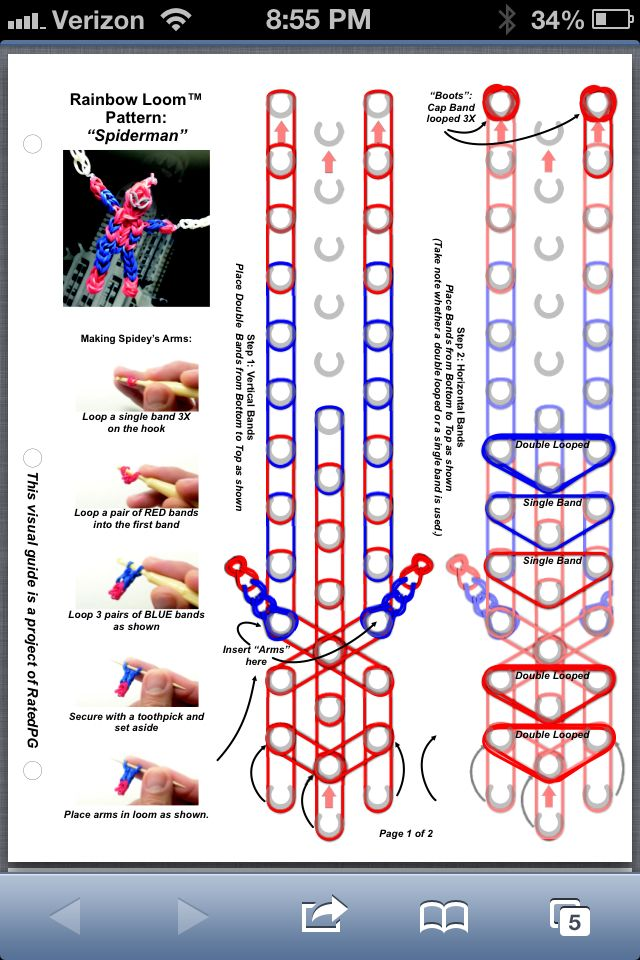 Spiderman part 1 rainbow loom pattern