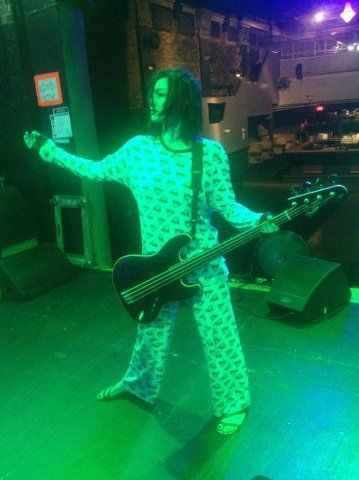 Lyn-Z Way doing sound check in pajamas