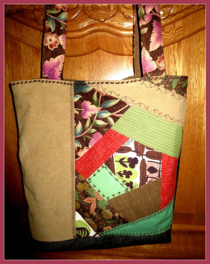 Crazy quilt tote... very first of 3... forgot to add all of the decorative stitching on this one before I sewed it together!