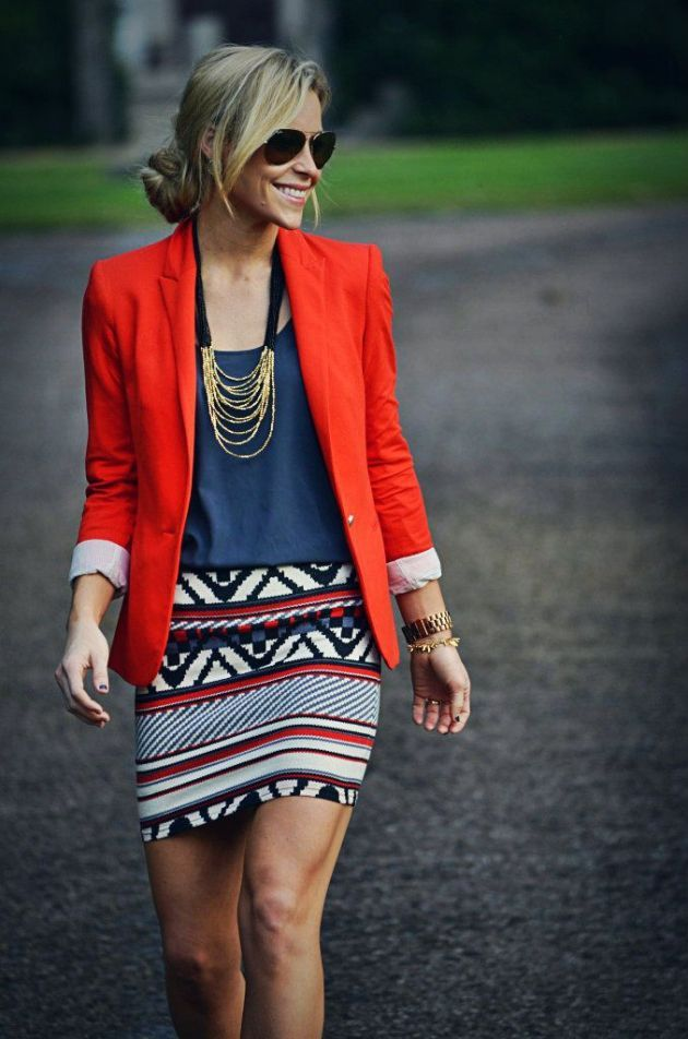 Several great outfits here. Love this one: blue top, red blazer, patterned mini.