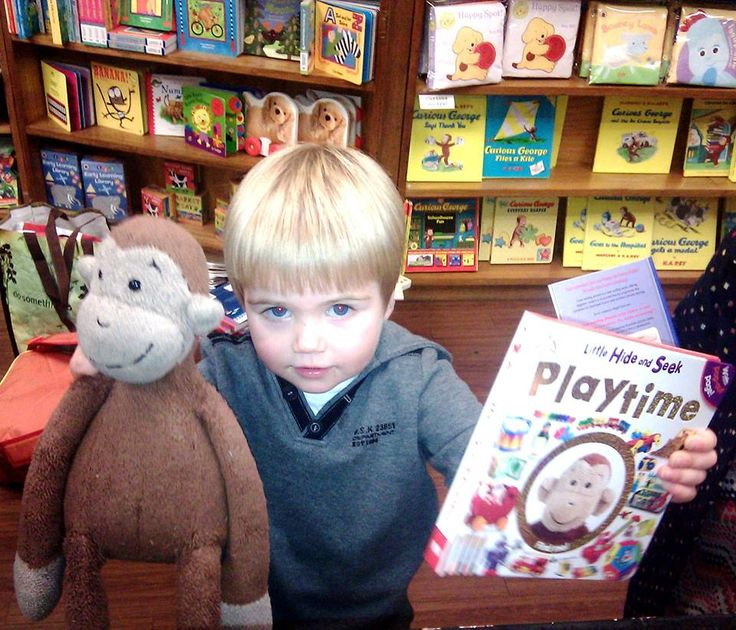 This little man and his monkey (named Fluffy) were extremely excited to see Fluffy starring on the cover of a book!