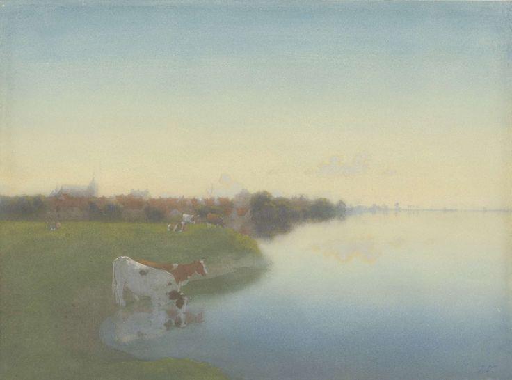 Oever van de IJssel bij Hattem, Jan Voerman (1857-1941), 1867 - 1919