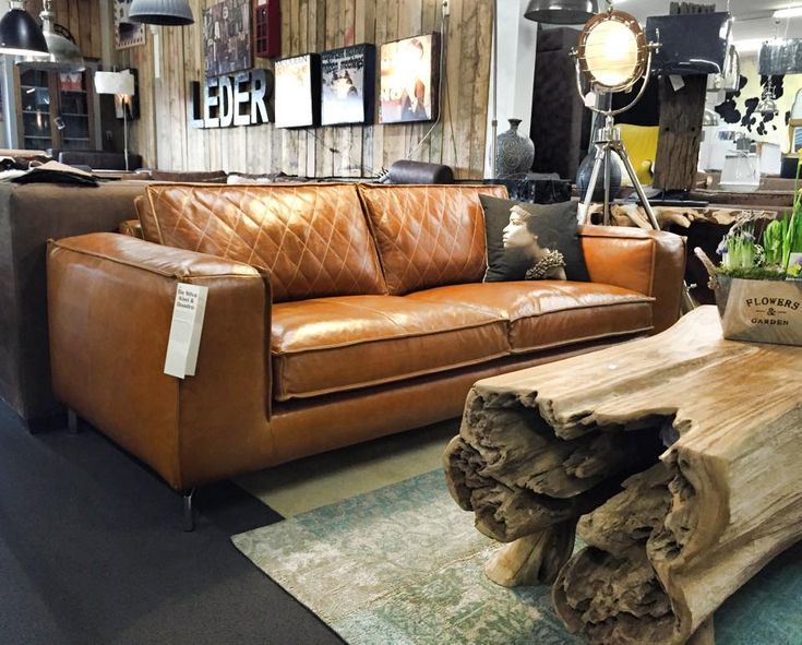 Design bank Paulo in da Silva leder luxe met ruiten