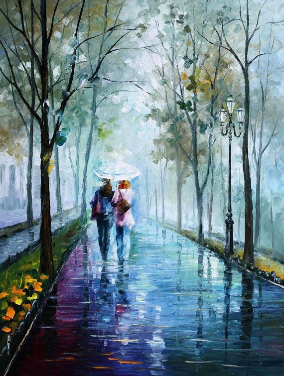 Foggy Stroll — PALETTE KNIFE Oil Painting On Canvas By Leonid Afremov #AfremovArtStudio #afremov #art #painting #fineart