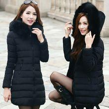 Hiver doudoune manteau femmes 2015 col de fourrure des femmes veste d'hiver à Long ouatée manteau de duvet Parka femme vestes d'hiver manteaux HY233(China (Mainland))