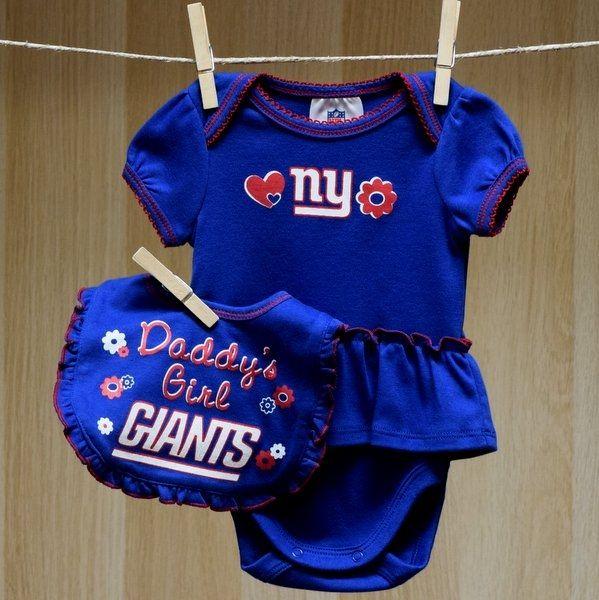 Ny Giants Baby Girl Bodysuit Bib Baby Sports Clothes By