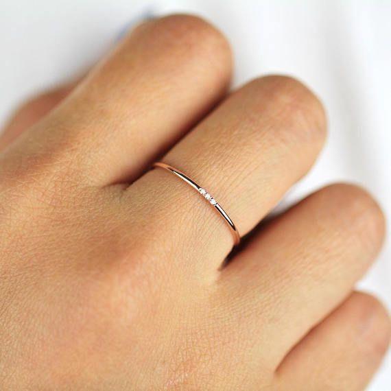 Minimalist Diamond Ring 14k Solid Gold Diamond Band 1mm Full #Diamondswedding