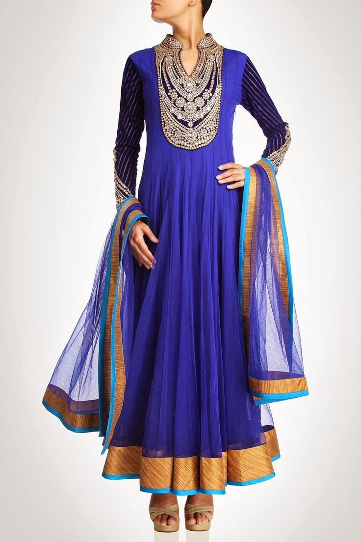 Royal blue color long anarkali suit – Panache Haute Couture