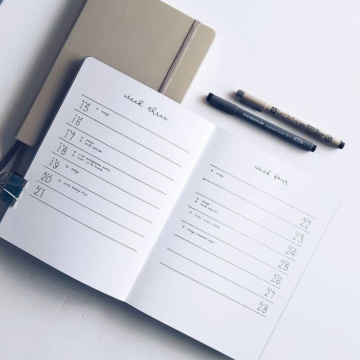 Bullet journal weekly layout, minimalist bullet journal weekly layout, unique daily headers. | @ambiguelle