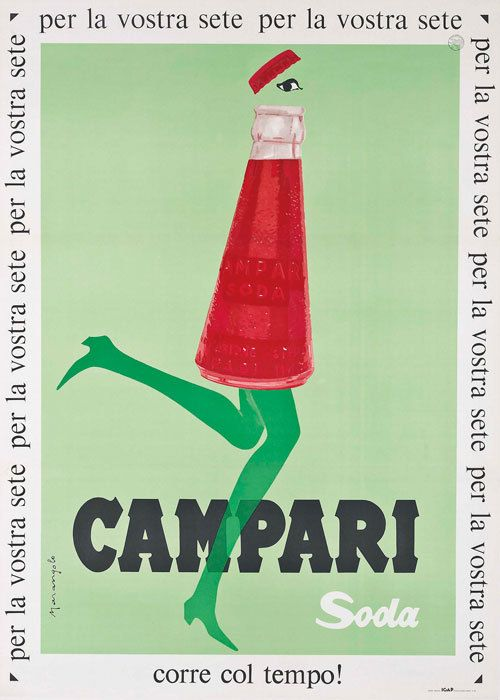 Vintage Italian Campari Soda Running Bottle Red & Green Print, Poster or Canvas