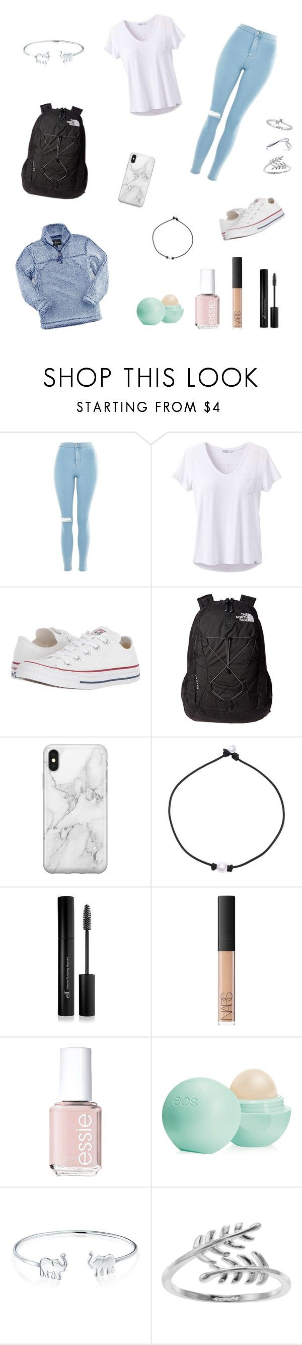 """preppy"" by riapanneer on Polyvore featuring Topshop, Boxercraft, prAna, Converse, The North Face, Recover, Forever 21, NARS Cosmetics, Essie and Eos"