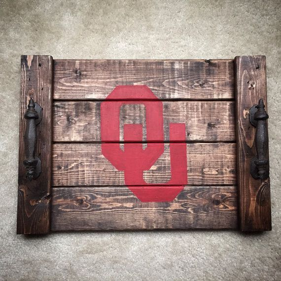 Get ready for game day with these rustic wooden trays!  by TheVintageVineDesign #collegefootball #football #gift #home #decor #rustic #wooden #tray #handmade #etsy #shop #ou #osu #logo #custom #gameday #serving #trays