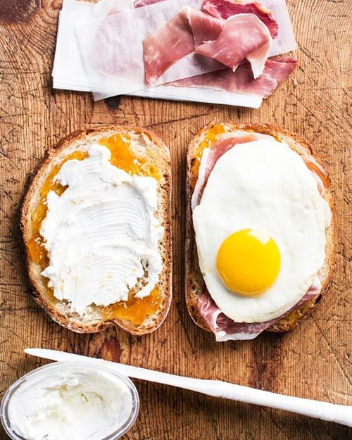 Monte cristo with fried eggs.