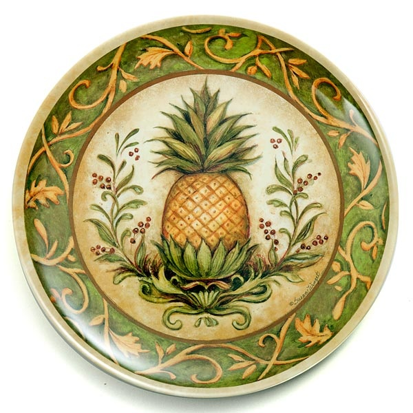 Pineapple plate susan winget pineapples and palms for Decoration plates