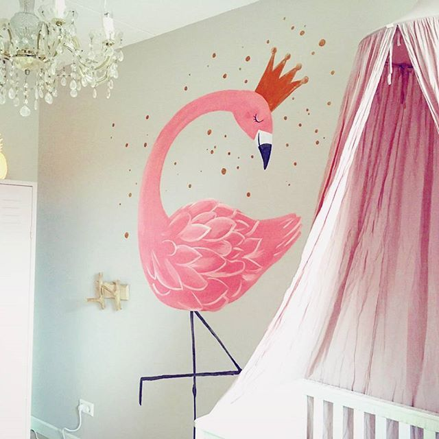 A while ago I painted this flamingo as a commission for a baby room!  Loved making it! I received this lovely photo from the parents, of the room all finished.  Welcome baby Paige, and thanks @qqquinten for the photo !