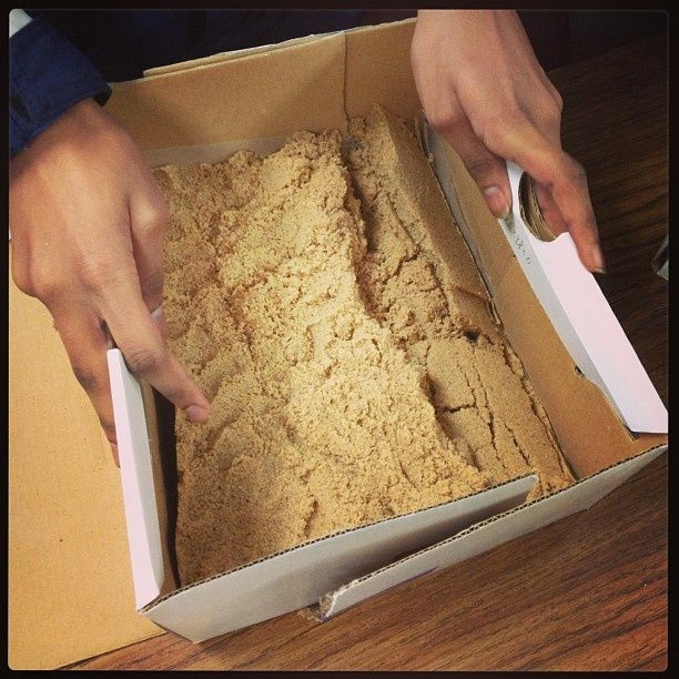 Activity to illustrate tectonic plates: two shoeboxes are fitted together and filled with moist sand. The boxes can then be pulled apart or pushed together to demonstrate plate tectonics.