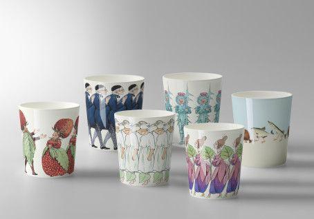 Elsa Beskows precious children illustrations  on ceramics, by Catharina Kippel for Design House Stockholm. Spring/summer 2013.