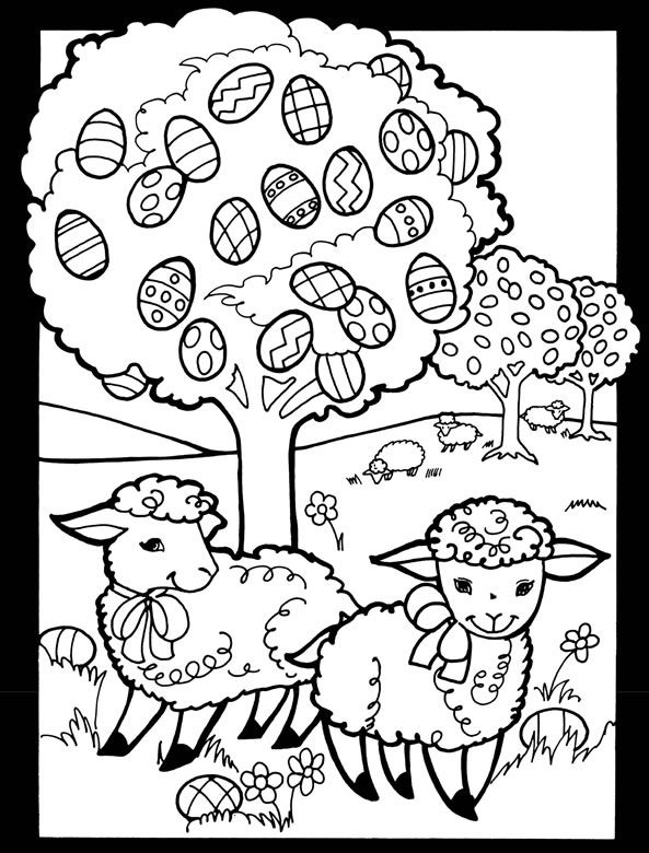 Colouring-in page - sample from 'Happy Easter Stained Glass Coloring Book' via Dover Publications ~s~