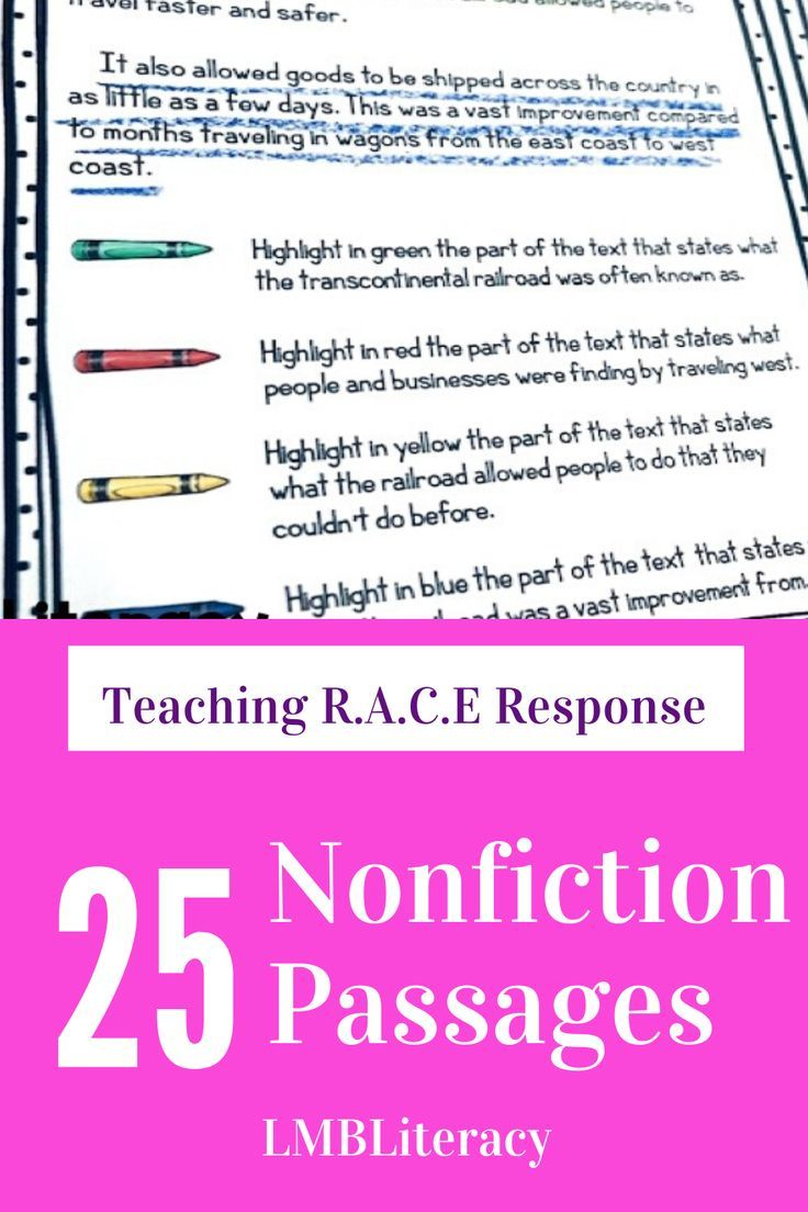 Teaching Race Response 25 Nonfiction Passages Teaching Writing Reading Comprehension Strategies Nonfiction Reading Passages [ 1104 x 736 Pixel ]