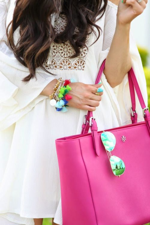 Tory Burch pink purse✺sunglasses✺white dress✺pompom bracelets