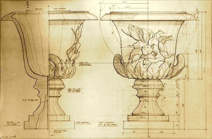 Henfeathers original magnolia urn architectual drawing for Cheap architectural drawings