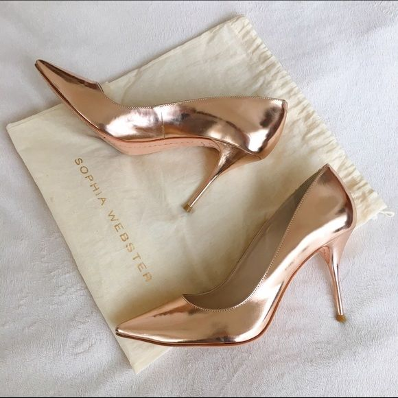 Sophia Webster Lola Rose Gold Pumps Only worn once! Like new condition with some wear only on the soles of the shoes. Heel is about 3.5 in and super comfortable and stable. The actual size is 38.5, but they run small and would fit a 7.5 US, or a small/narrow 8 US. I'm a true 8 and they are a bit too snug for me. Sophia Webster Shoes Heels