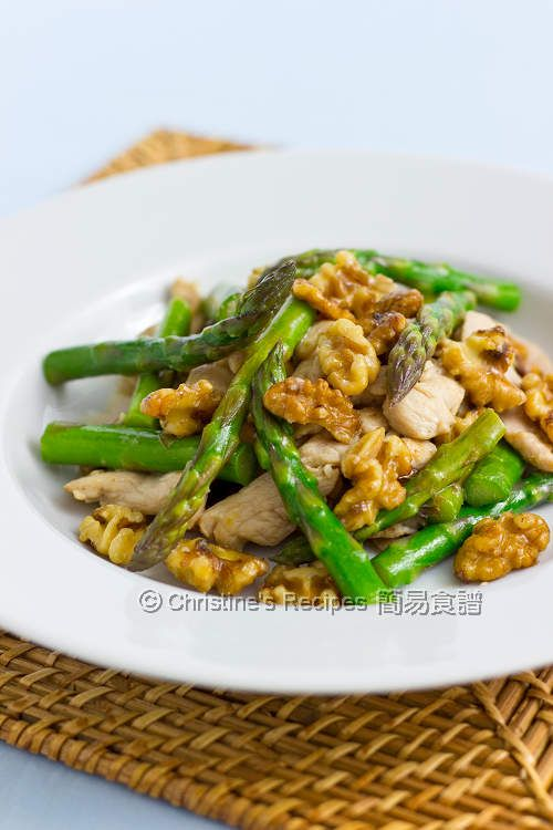 Asparagus, Chicken and Walnuts Stir Fry [High-protein, Healthy, Asian, Chinese, Vegetables, Green, Low-carbohydrate, Saute, Spring]