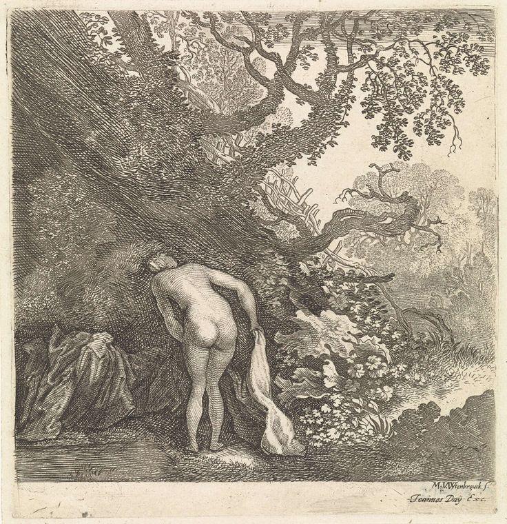 Moyses van Wtenbrouck | Badende vrouw, van achteren gezien, Moyses van Wtenbrouck, Joannes Day, 1600 - 1647 | Een naakte vrouw, aan de rand van een bosmeertje, buigt zich over haar op de grond liggende kleding.