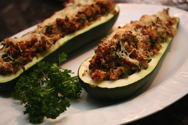 Quinoa and Turkey Stuffed Zucchini Boats. Here's a great way to use your huge zucchinis from the garden! It's an easy, gluten free, inexpensive, filling, and tasty meal!