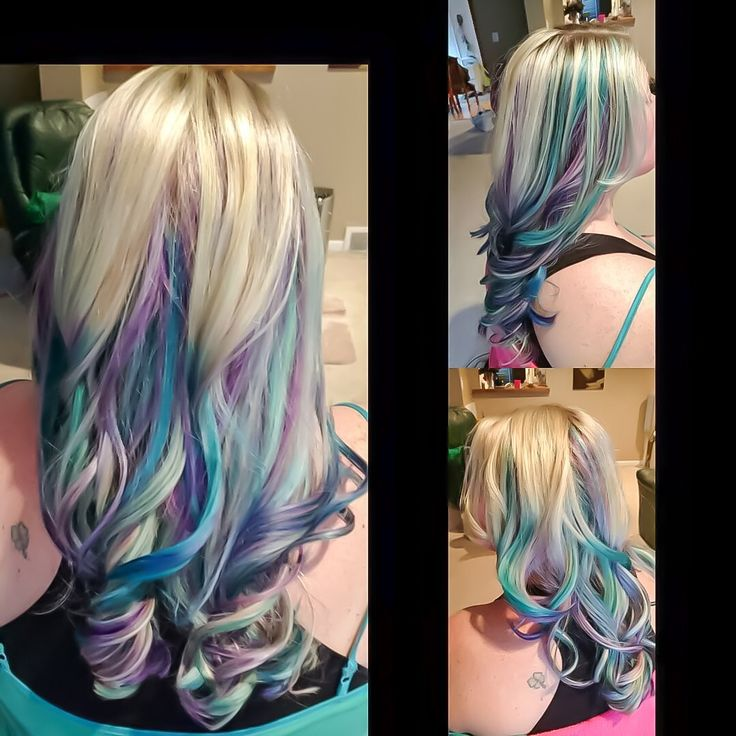 My new blonde, purple, teal, blue and lilac mermaid mid length hair.