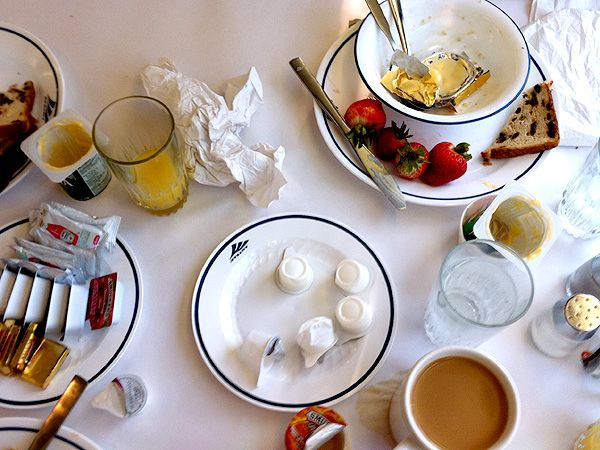 Montana-morning Amtrak breakfast.