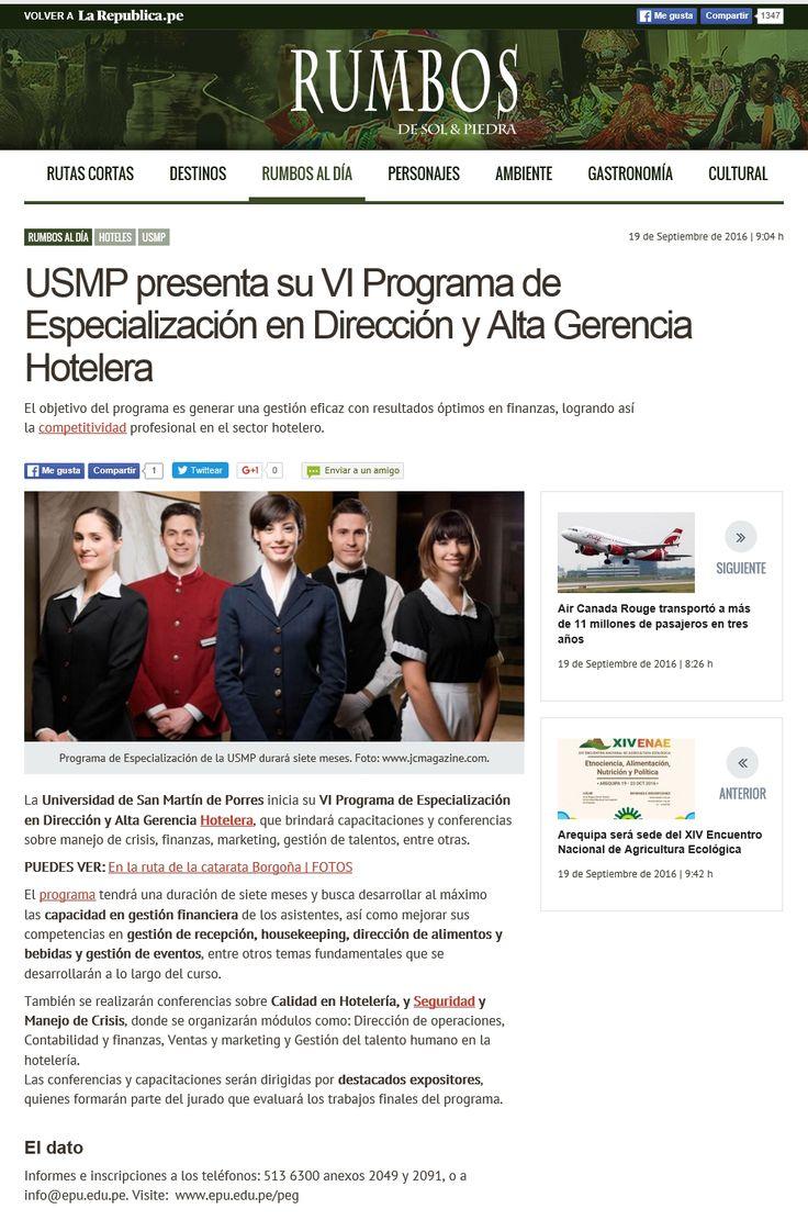 USMP presenta su VI Programa de Especialización en Dirección y Alta Gerencia Hotelera. Artículo en la Revista Rumbos. 19/09/2016
