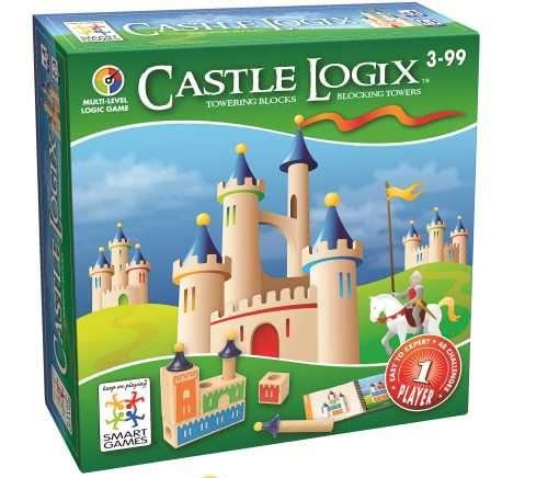 Castle LogiX kan gespeeld worden door kinderen vanaf 3 jaar! Het combineert logica, ruimtelijk inzicht en fijne motoriek.  4 blokken en 3 torens van verschillende lengte. Met Castle LogiX is het de bedoeling om een kasteel na te bouwen, zoals afgebeeld in de opdracht. Iedere opdracht heeft maar één juiste oplossing.