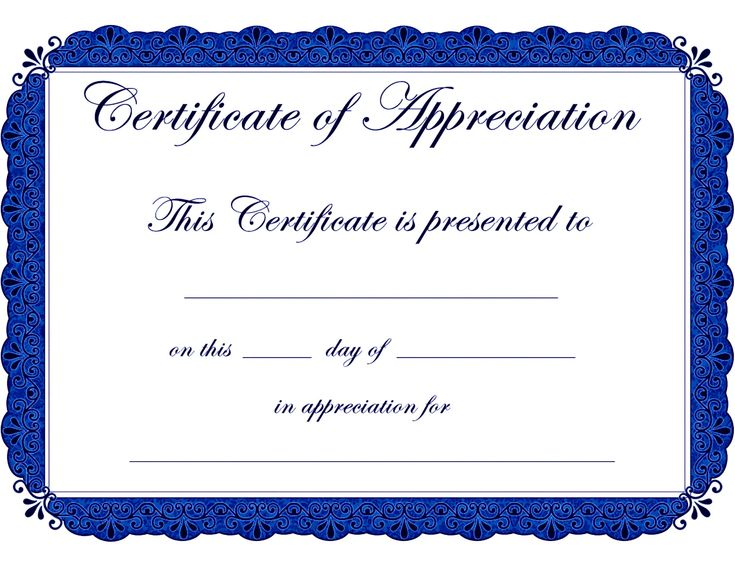 Appealing Award Template Word for Certificate of Appreciation with Blue Color Theme and Floral Motif : Thogati