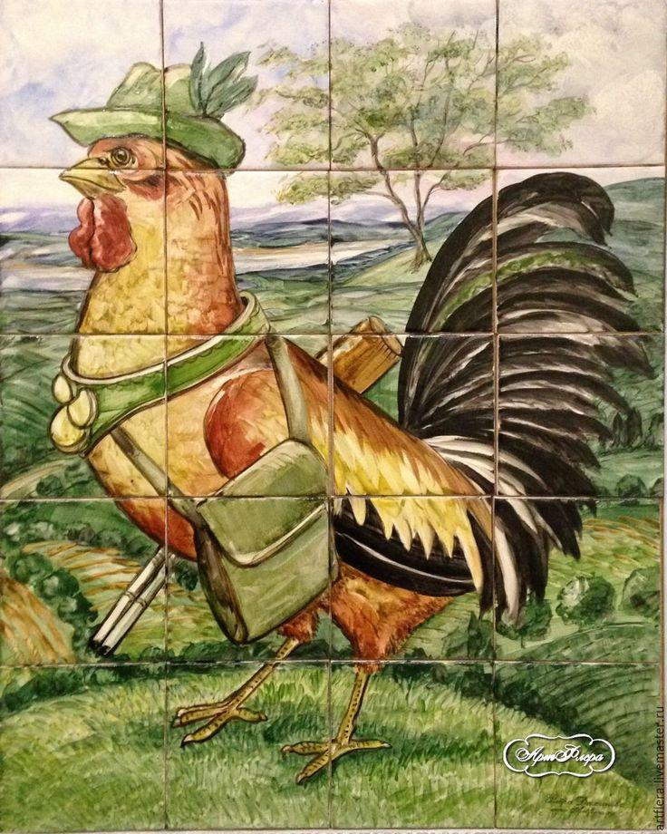 Купить Роспись плитки Панно на плитке Фартук для кухни Петух охотник - Роспись плитки