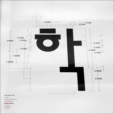 work of Ahn Sang Soo who is one of the most influential designers in Korea, renowned for developing the traditional Hangul typography into a functional medium for today