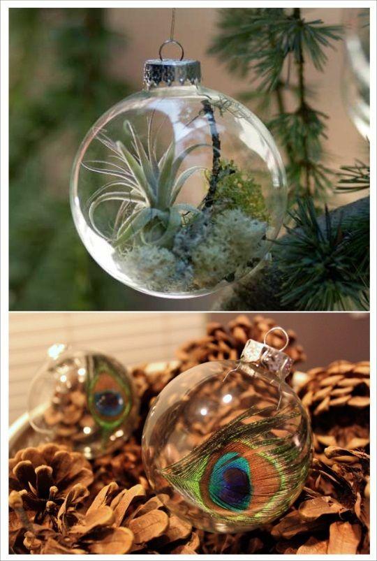 boule de noel a decorer plume plantes | Decoration noel, Noel et