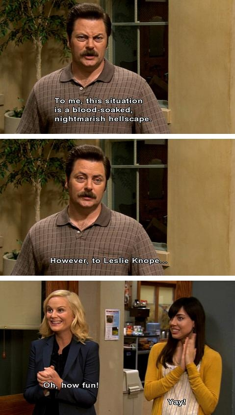 Nick Offerman, Amy Poehler, and Aubrey Plaza as Ron Swanson, Leslie Knope, and April Ludgate   Parks and Recreation