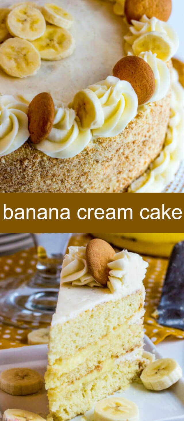Banana Cream Cake {A Fun Twist on Banana Cream Pie} banana/ layer cake/ pie Layers of yellow cake filled with a banana pudding and decorated with wafer cookies makes this Banana Cream Cake just like the classic pie! via @thebestcakerecipes