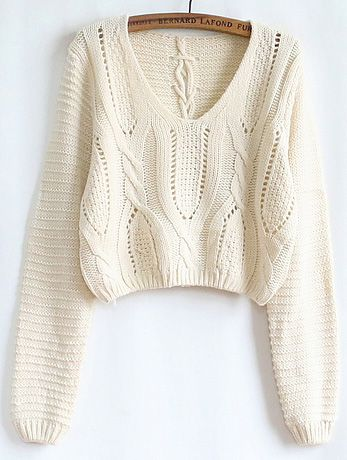 Apricot Hollow Crop Cable Knit Sweater 19.33