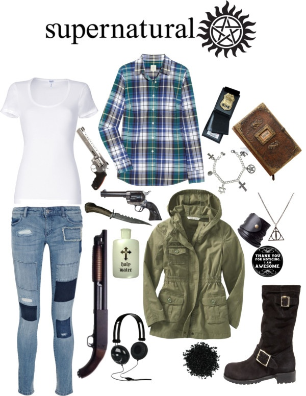 """Fem!Sam Winchester"" by josinclair ❤ liked on Polyvore. I like this but why the deathly hallows necklace??"