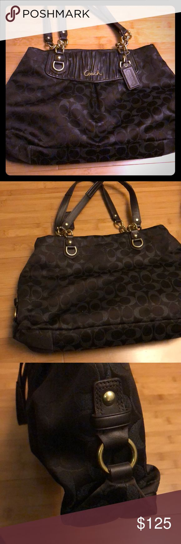 Coach tote Gently used Authentic coach tote bag with emblem detail. Gold lettering and chain Coach Bags Totes