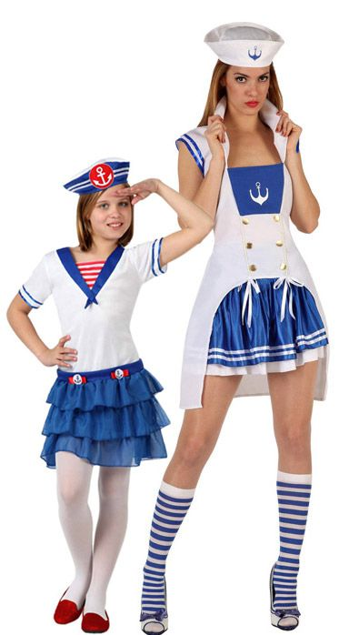 Costume coppia marinaie madre e figlia: Costume marinaio donnaQuesto costume da marinaio per le donne comprende una tunica, una gonna e...