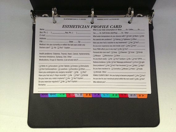Esthetician Client Profile Binder with 100 profile cards, A - Z index, and a 3-year calendar
