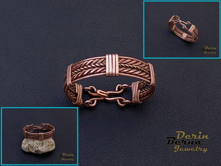 Free Shipping Men copper cuff bracelet,Copper Wire Men Bracelete,Wire Wrapped Bracelet Mens Accesory,Men Bangle Bracelet,Men Cuff Bracelet by BernaDerinJewelry on Etsy