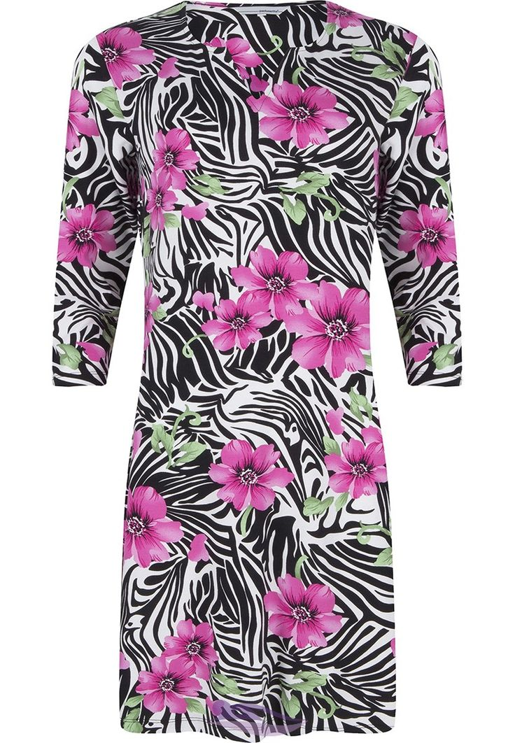 Step out into the sun in style with Pastunette in this 'Pink Passion Flower' beach dress with a zebra print pattern