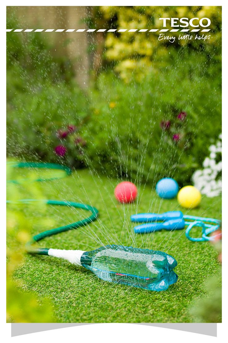 Turn your garden into a mini waterpark for a fun day outdoors. Start with this clever water sprinkler made from a plastic bottle that's perfect for children, and build up to water slides and water blobs for the teens. | Tesco