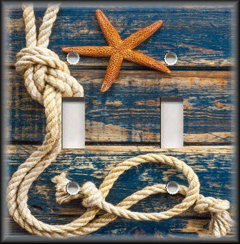 Light Switch Plate Cover - Beach Home Decor - Rope Starfish Blue Nautical Decor #LunaGallerySwitchPlates